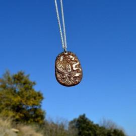Pendentif - Jade dragon et phoenix sur anneau d'argent