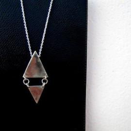 Pendentif - Double triangle libre - Argent