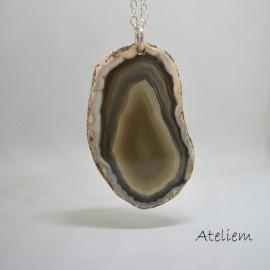 Pendentif - Agate coupé en tranche sur anneau d'argent - Marron gris