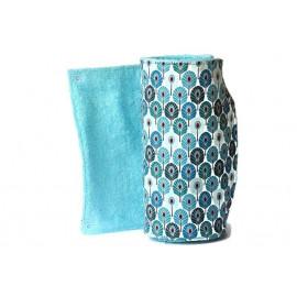 Rouleau d'essuie-tout lavable - 10 feuilles - plumes turquoise et bleu - coton et éponge