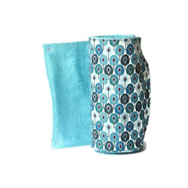 Rouleau d'essuie-tout lavable - 12 feuilles - plumes turquoise et bleu - coton et éponge