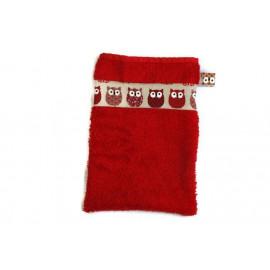 Gant de toilette de couleur rouge - hiboux
