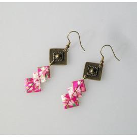Boucles d'oreilles SOFIA origami en papier japonais rose