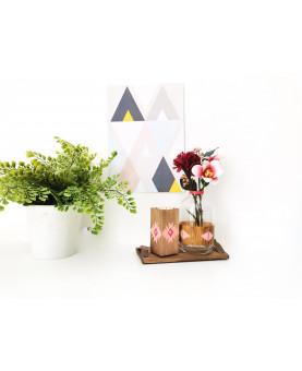 Plateau d'ambiance ROSE - Leewalia - Bougeoir et soliflore - art de la table - décoration d'intérieur - objet en bois