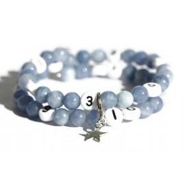 Bracelet d'allaitement de couleur bleu - perles angelite