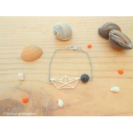 Bracelet bateau origami, bracelet diffuseur d'huiles essentielles, pierre de lave, aromathérapie