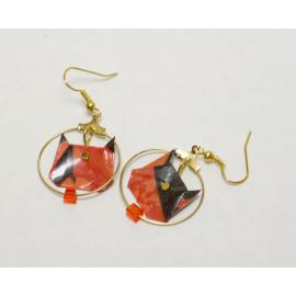 Boucles d'oreilles Tigre – Collection «Jungle» - Bijou littéraire en papier plié