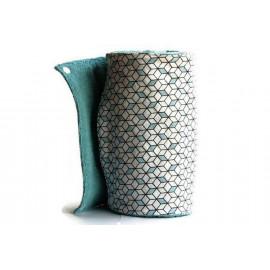 Rouleau d'essuie-tout lavable - 12 feuilles - cubes bleu - coton et éponge