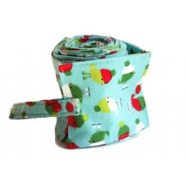 Rouleau de 26 feuilles de papier toilette lavable en flanelle - turquoise et oiseaux