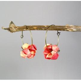 Boucles d'oreilles créoles origami en papier japonais washi jaune et rose, PIVOINE
