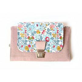 Portefeuille femme en liège et Liberty  personnalisable, avec fermeture large et sécurisée