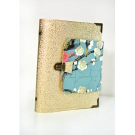 Planner organiseur A5 en Liberty et simili cuir personnalisé, avec fermeture sécurisée, agenda rechargeable