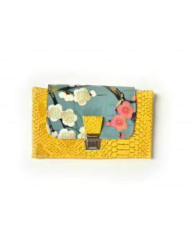 Portefeuille jaune fleurs de cerisiers, portefeuille femme, portefeuille complet avec cartes chéquier monnaie papier