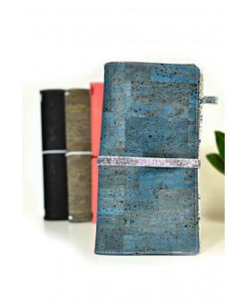 Fauxdori vegan en liege bleu pétrole, couverture de fauxdori en Liberty Adelajda, avec carnet pointillé 64 pages, bullet journal
