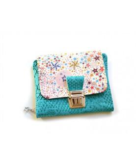 Portefeuille femme Liberty Mauvey, portefeuille compact, portefeuille émeraude fleurs, porte-cartes, porte-monnaie, émeraude