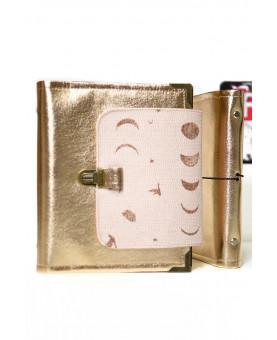 Planner organiseur A5 en cuir de papier lavable Rose doré et coton lunes, fermeture rabat, agenda rechargeable