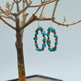 Boucles d'oreille - Turquoise, corail, os et ardoise