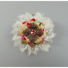 Pince à cheveux fleur origami en papier japonais doré et rose