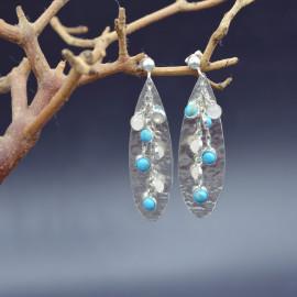 Boucles d'oreille - Turquoise et quartz rose sur fond de goutte d'argent