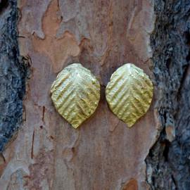 Boucles d'oreille - Feuille de rose - Laiton