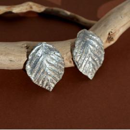 Boucles d'oreille - Feuille de rose -  argent 925