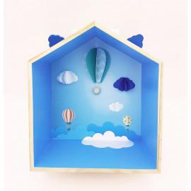 Etagère maison montgolfières origami