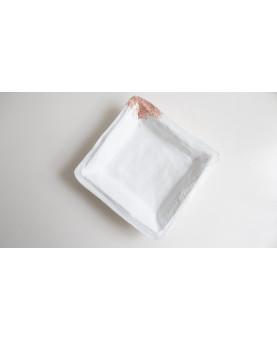 Vide-poche Eclat-  béton blanc, pointé d'or rose