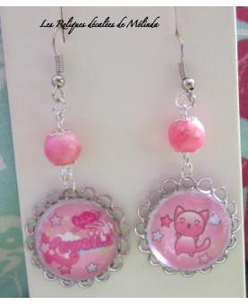 Kawaï Cat Pink Boucles d'oreilles