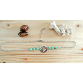 Headband ajustable, médaillon cactus, perles vertes, idée cadeau anniversaire