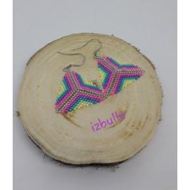 Boucles d'oreilles, multicolores, triangles, perles miyuki