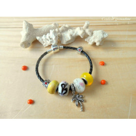 Bracelet charm cordon, palmier, perles en verre, idée cadeau anniversaire