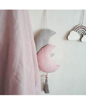 MiniLune rose et beige en lin