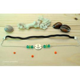 Headband ajustable, ancre marine, perles facettées bleu, vert, idée cadeau anniversaire