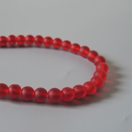 34 Perles rondes cultured sea glass, cherry red, verre recyclé, 6 mm