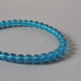 34 Perles rondes cultured sea glass, teal, verre recyclé, 6 mm