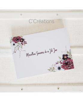Livre d'or mariage - Boho - aquarelle bouquet de fleurs coloris blanc et bordeaux