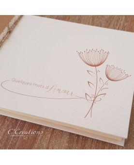 Livre d'or mariage - Quelques mots d'amour - personnalisable, coloris kraft, dentelle et graphisme