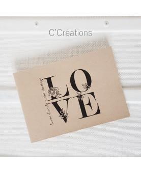Livre d'or, carnet mariage - LOVE - en kraft et ivoire, format A5 paysage