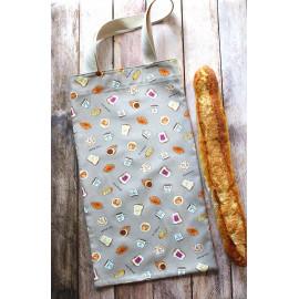 Sac à pain baguette, sac à pain en coton avec anses