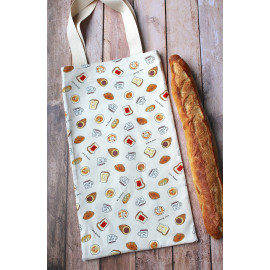Sac à pain baguette en coton, sac à pain avec anses couleur beige