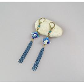 Boucles d'oreilles origami en papier japonais en camaïeu de bleu, Maeva