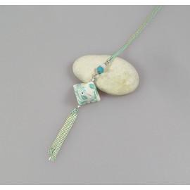 Sautoir origami en papier japonais blanc et bleu vert, Maeva