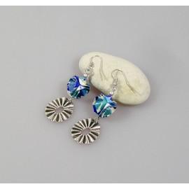 Boucles d'oreilles origami en papier japonais en camaïeu de bleu, Boule charms