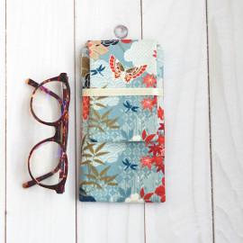 Etui à lunettes en coton japonais papillons bleu