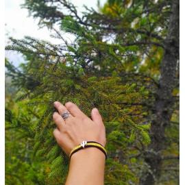 Bracelet manchette suédine, jaune moutarde, cactus, noir, idée cadeau anniversaire