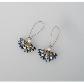Boucles d'oreilles origami éventail en papier japonais bleu, mini Paon