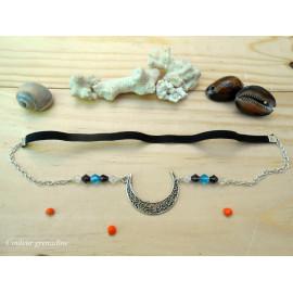 Headband ajustable, lune, perles toupies, bleu, noir, argenté, idée cadeau anniversaire