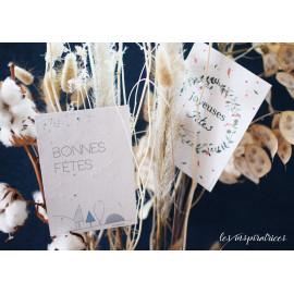 """Cartes de voeux sur papier ensemencé 250 gr / """"Bonnes fêtes"""""""