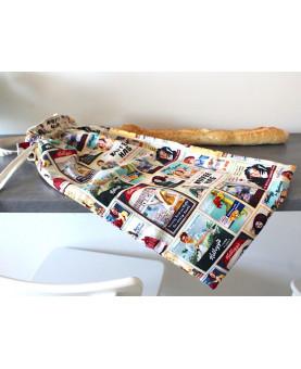 Grand sac à pain baguette vintage, sac à pain doublé