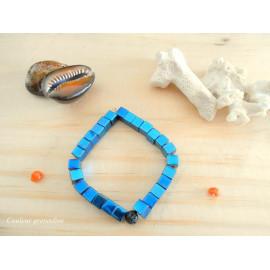 Bracelet hématite, perles carrées, bracelet diffuseur d'huiles essentielles, pierre de lave, aromathérapie